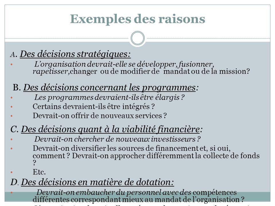 Exemples des raisons B. Des décisions concernant les programmes: