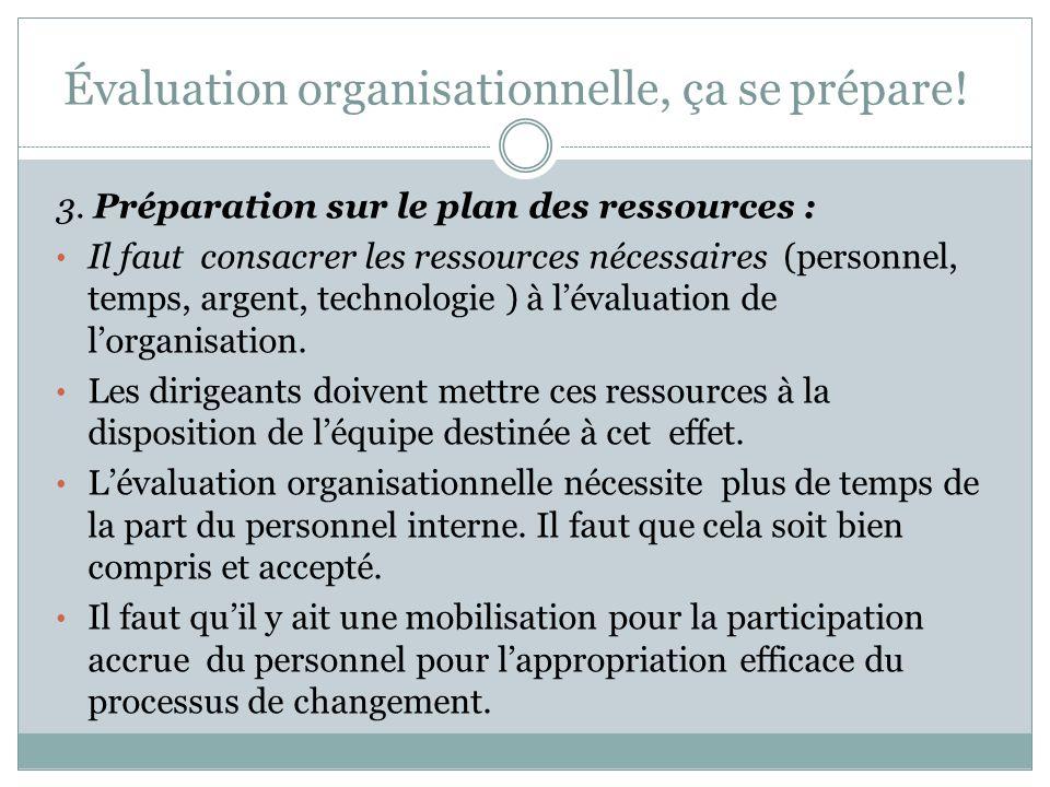 Évaluation organisationnelle, ça se prépare!