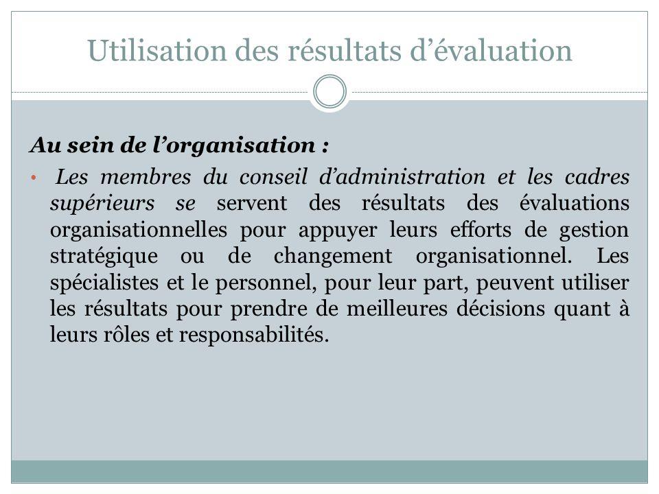 Utilisation des résultats d'évaluation