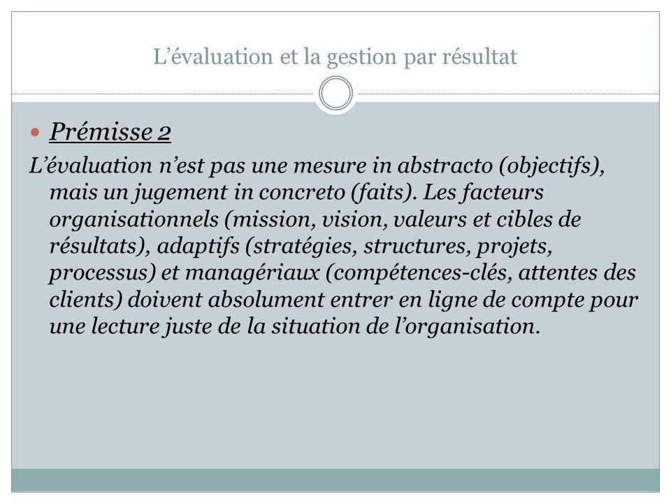 L'évaluation et la gestion par résultat