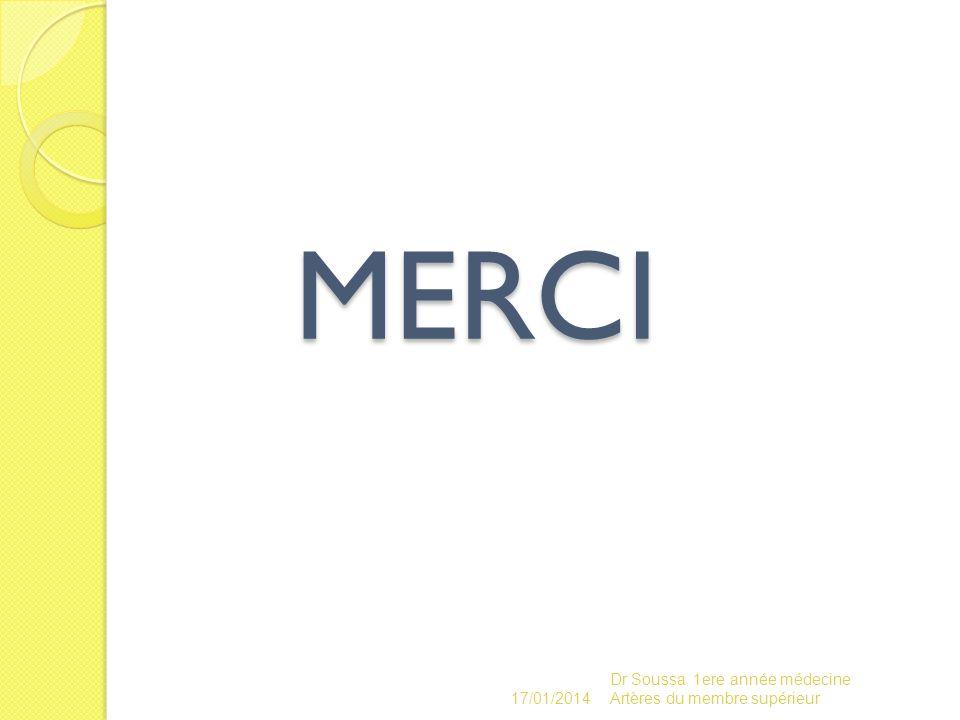 MERCI Dr Soussa 1ere année médecine Artères du membre supérieur