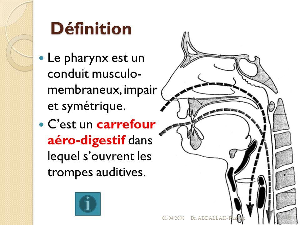 Définition Le pharynx est un conduit musculo- membraneux, impair et symétrique.