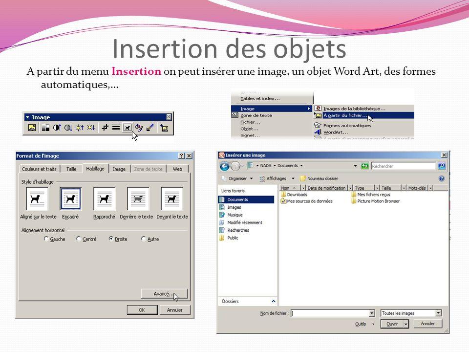 Insertion des objets A partir du menu Insertion on peut insérer une image, un objet Word Art, des formes automatiques,…