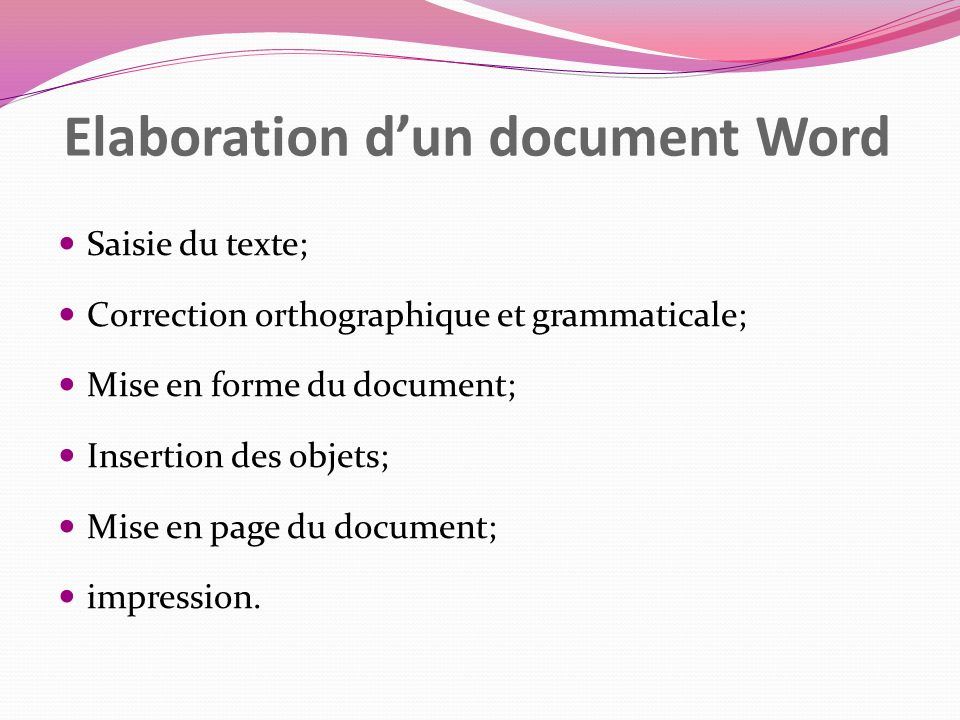 Elaboration d'un document Word