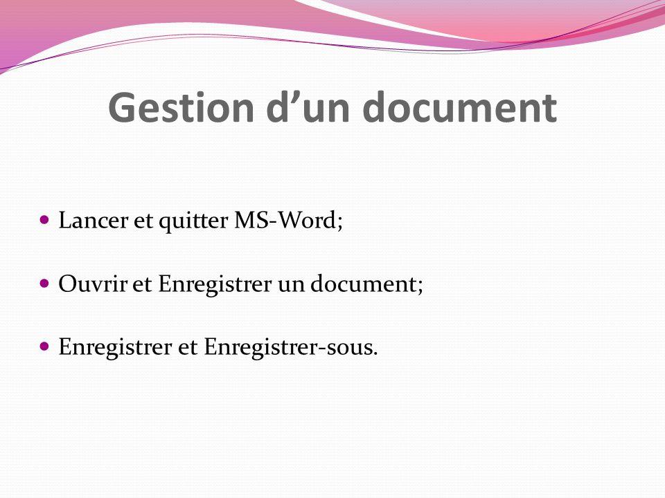 Gestion d'un document Lancer et quitter MS-Word;