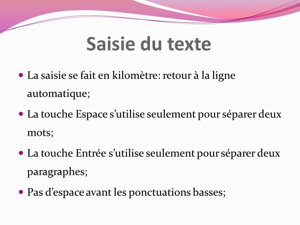 Saisie du texte La saisie se fait en kilomètre: retour à la ligne automatique; La touche Espace s'utilise seulement pour séparer deux mots;