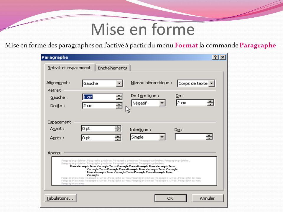 Mise en forme Mise en forme des paragraphes on l'active à partir du menu Format la commande Paragraphe.