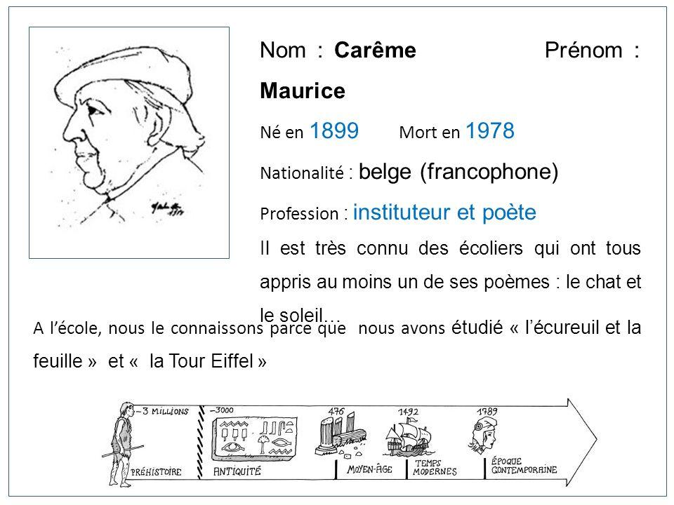 Nom : Carême Prénom : Maurice