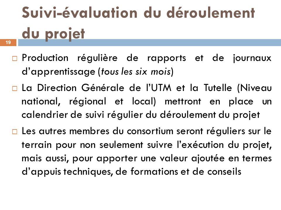 Suivi-évaluation du déroulement du projet