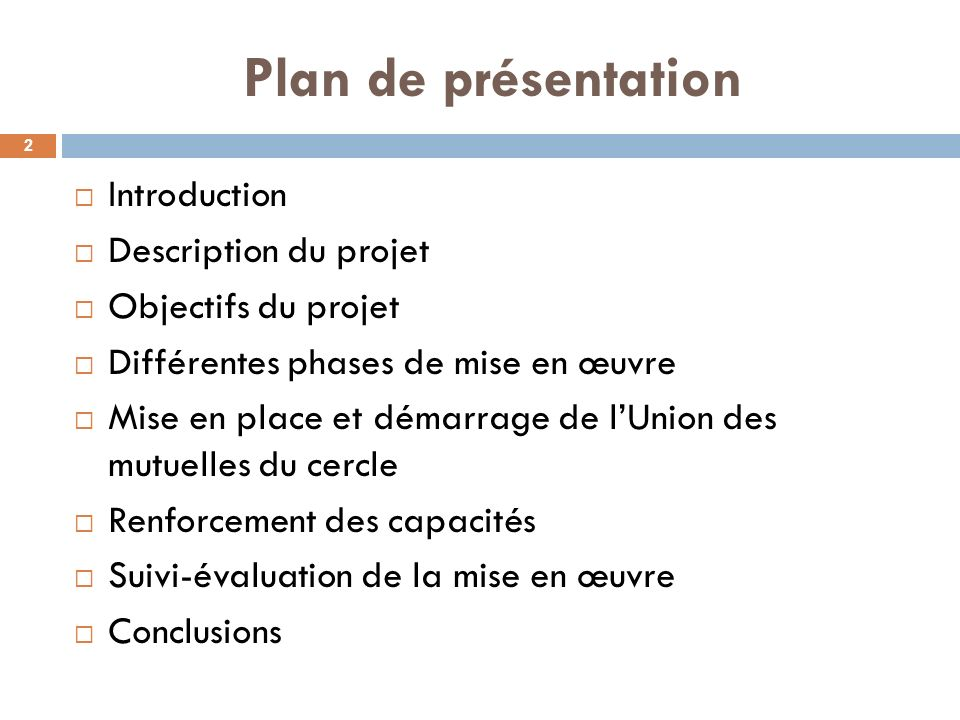 Plan de présentation Introduction Description du projet