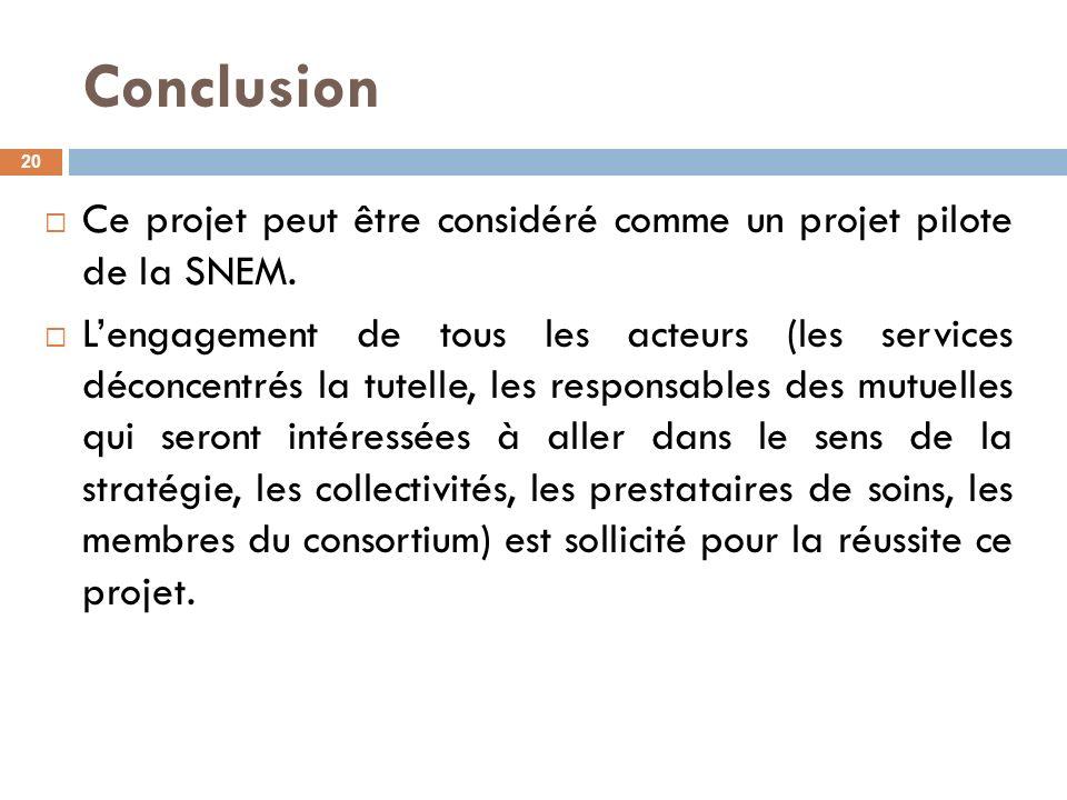 Conclusion Ce projet peut être considéré comme un projet pilote de la SNEM.