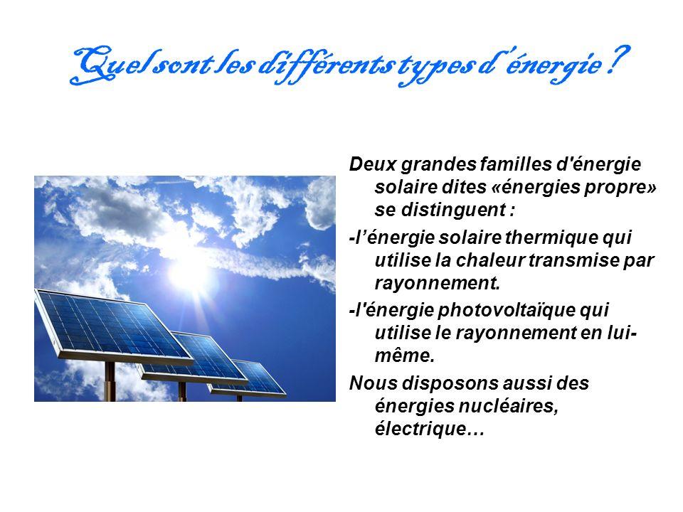 Quel sont les différents types d'énergie