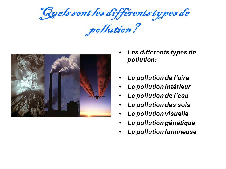 Quels sont les différents types de pollution