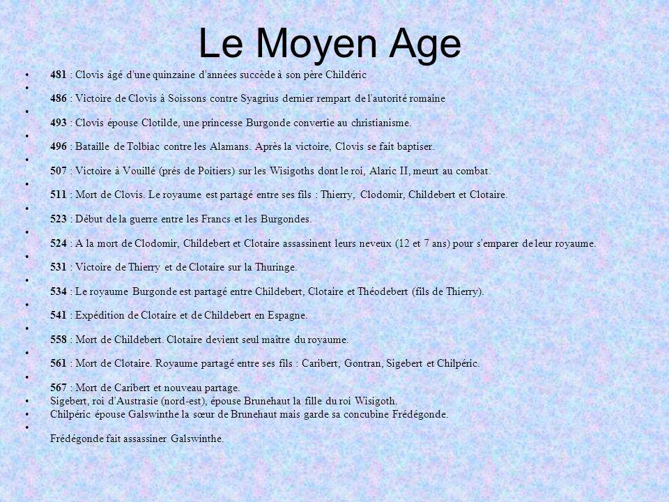 Le Moyen Age 481 : Clovis âgé d une quinzaine d années succède à son père Childéric.