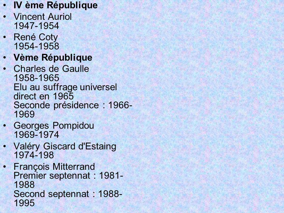 IV ème République Vincent Auriol 1947-1954. René Coty 1954-1958. Vème République.