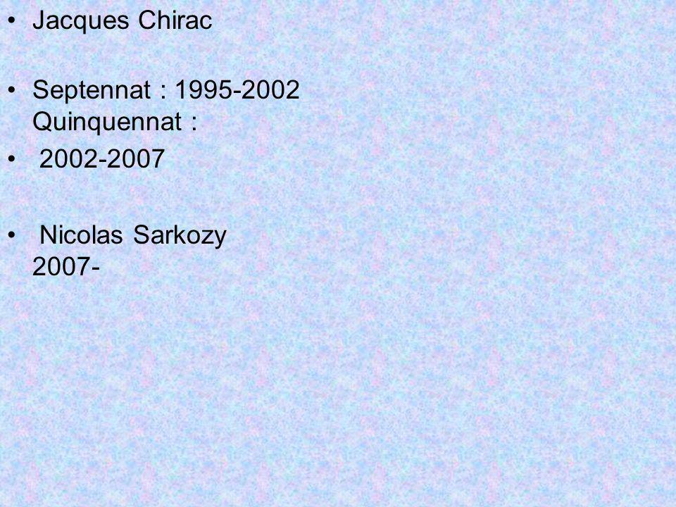 Jacques Chirac Septennat : 1995-2002 Quinquennat : 2002-2007 Nicolas Sarkozy 2007-