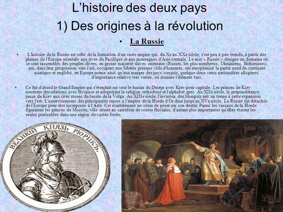 L'histoire des deux pays 1) Des origines à la révolution