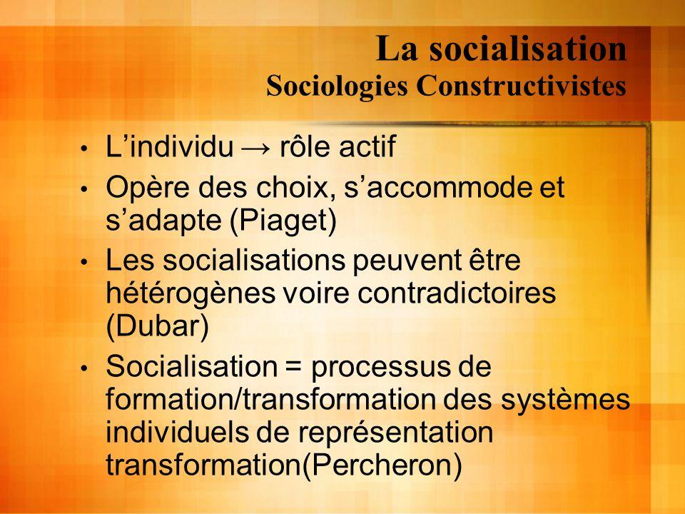 La socialisation Sociologies Constructivistes