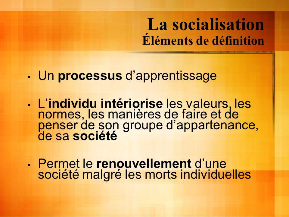 La socialisation Éléments de définition