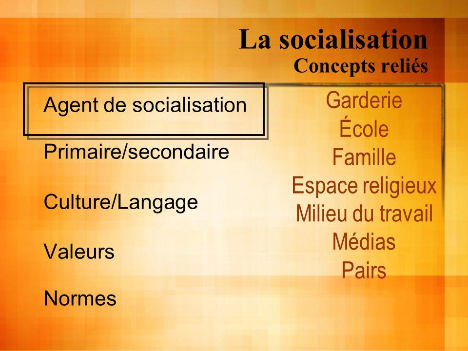 La socialisation Concepts reliés