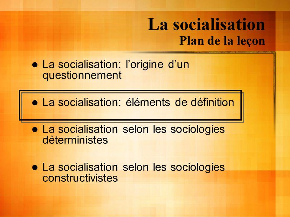 La socialisation Plan de la leçon