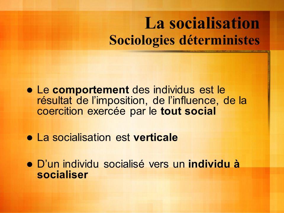 La socialisation Sociologies déterministes