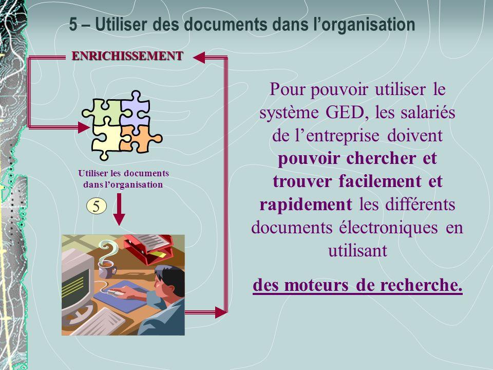 5 – Utiliser des documents dans l'organisation