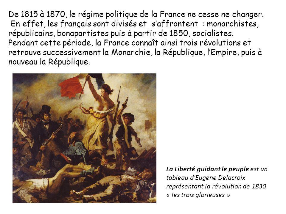 De 1815 à 1870, le régime politique de la France ne cesse ne changer.