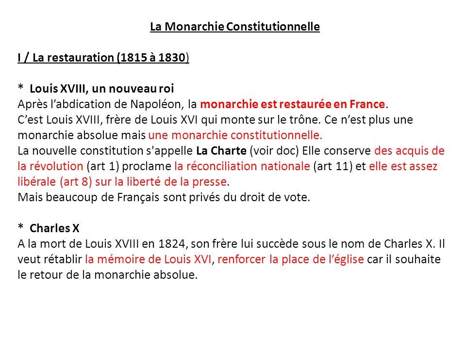 La Monarchie Constitutionnelle