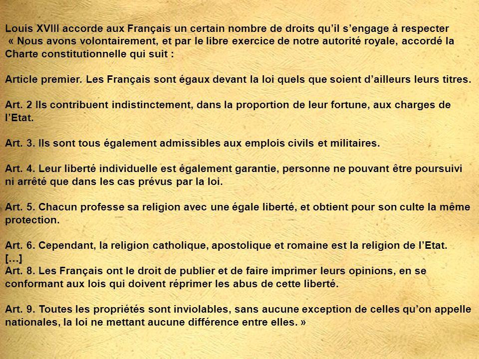 Louis XVIII accorde aux Français un certain nombre de droits qu'il s'engage à respecter « Nous avons volontairement, et par le libre exercice de notre autorité royale, accordé la Charte constitutionnelle qui suit : Article premier.