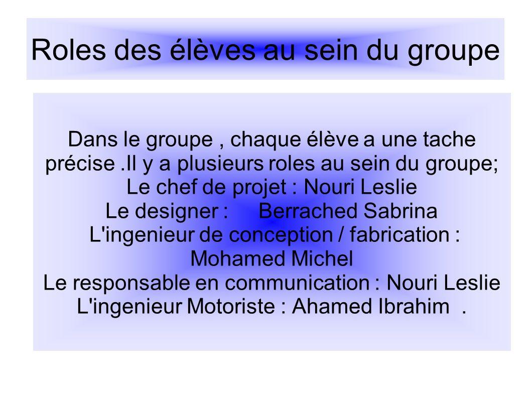 Roles des élèves au sein du groupe