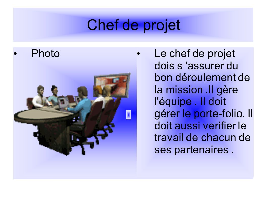 Chef de projet Photo.