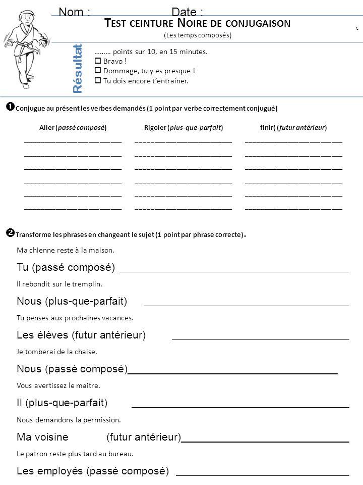 Test ceinture Noire de conjugaison
