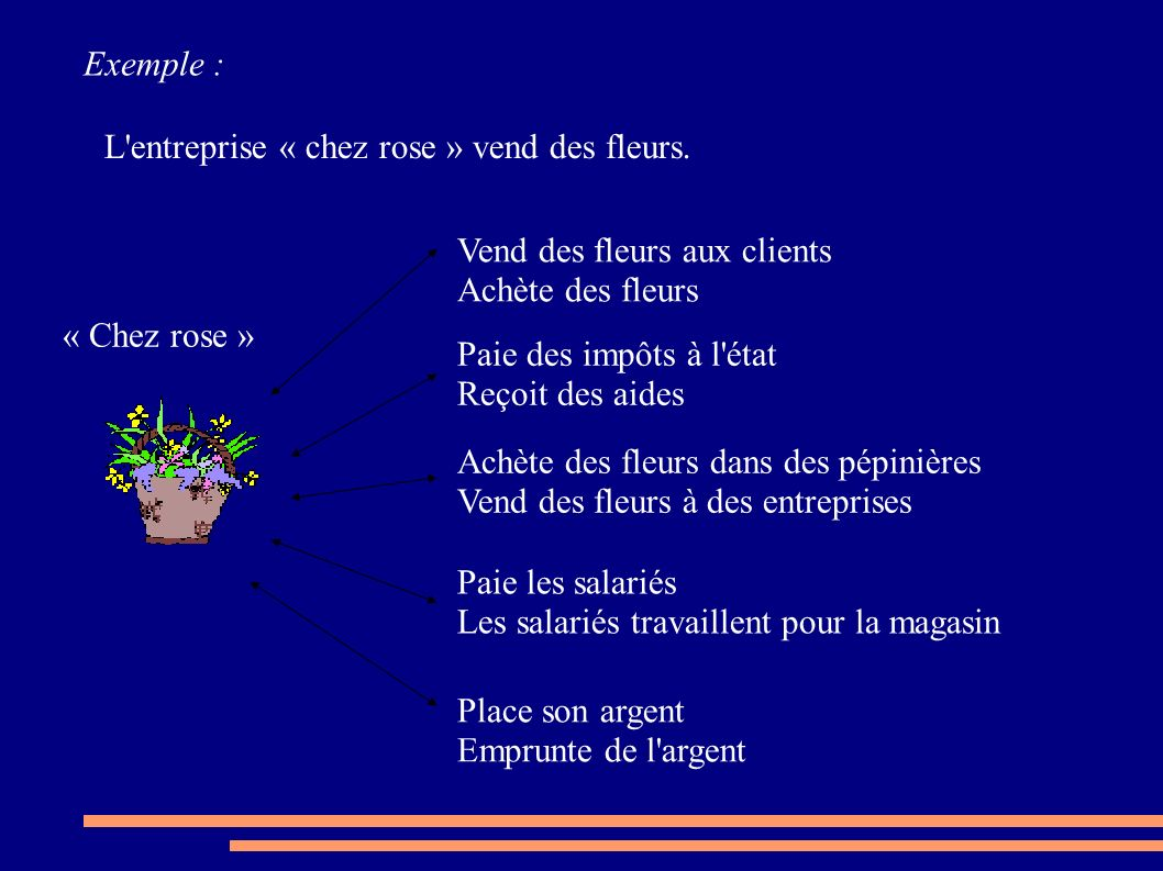 Exemple : L entreprise « chez rose » vend des fleurs. Vend des fleurs aux clients. Achète des fleurs.