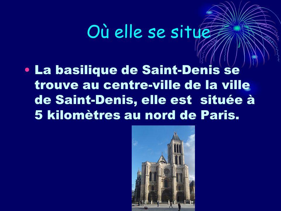 Où elle se situeLa basilique de Saint-Denis se trouve au centre-ville de la ville de Saint-Denis, elle est située à 5 kilomètres au nord de Paris.