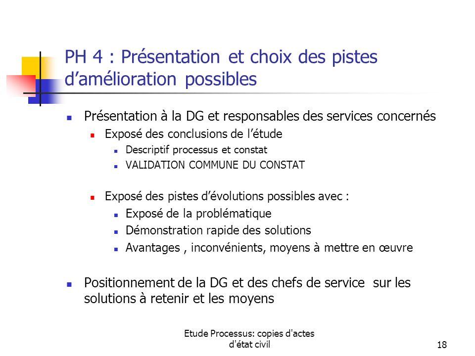 PH 4 : Présentation et choix des pistes d'amélioration possibles
