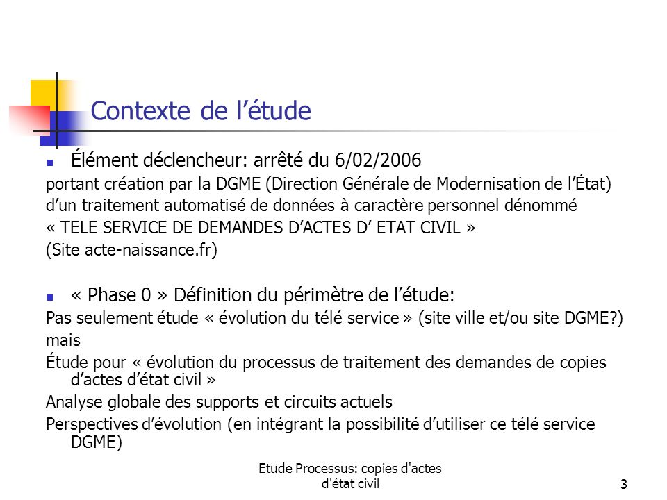 Etude Processus: copies d actes d état civil