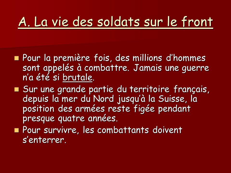 A. La vie des soldats sur le front