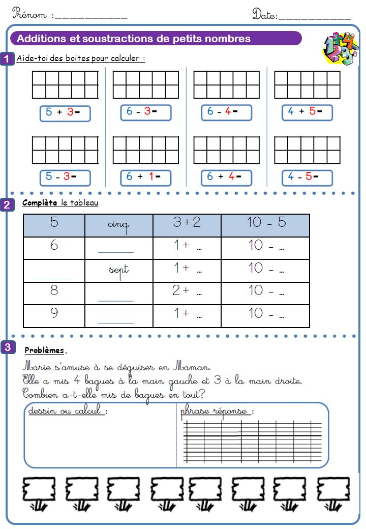8 Calcule Additions et soustractions de petits nombres 1 2 3 7