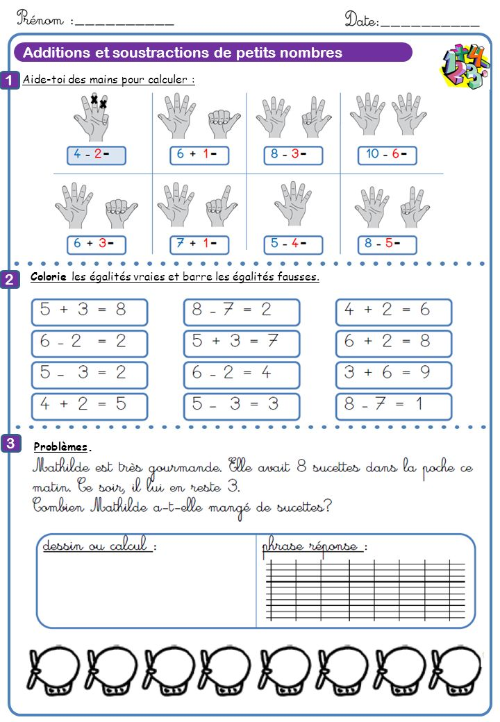 8 Calcule Additions et soustractions de petits nombres 1 2 3 8