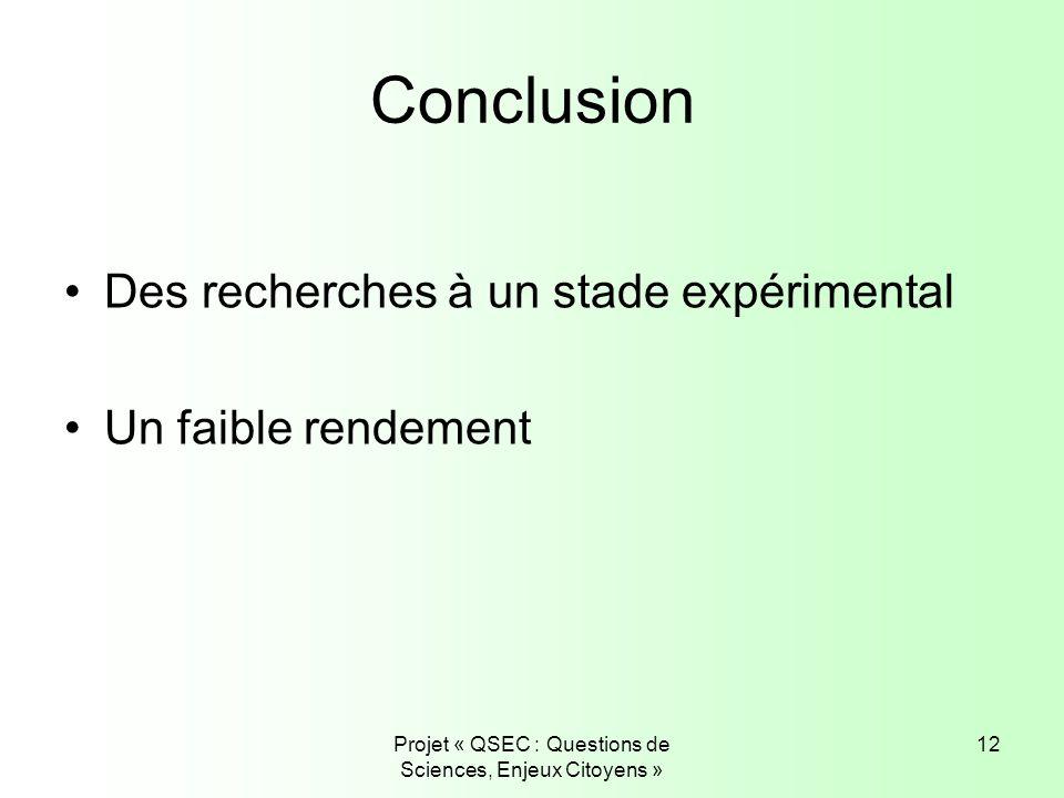 Projet « QSEC : Questions de Sciences, Enjeux Citoyens »