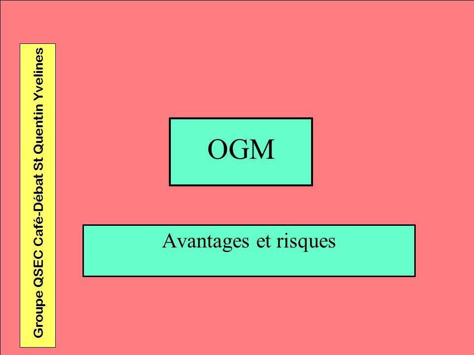 OGM Groupe QSEC Café-Débat St Quentin Yvelines Avantages et risques