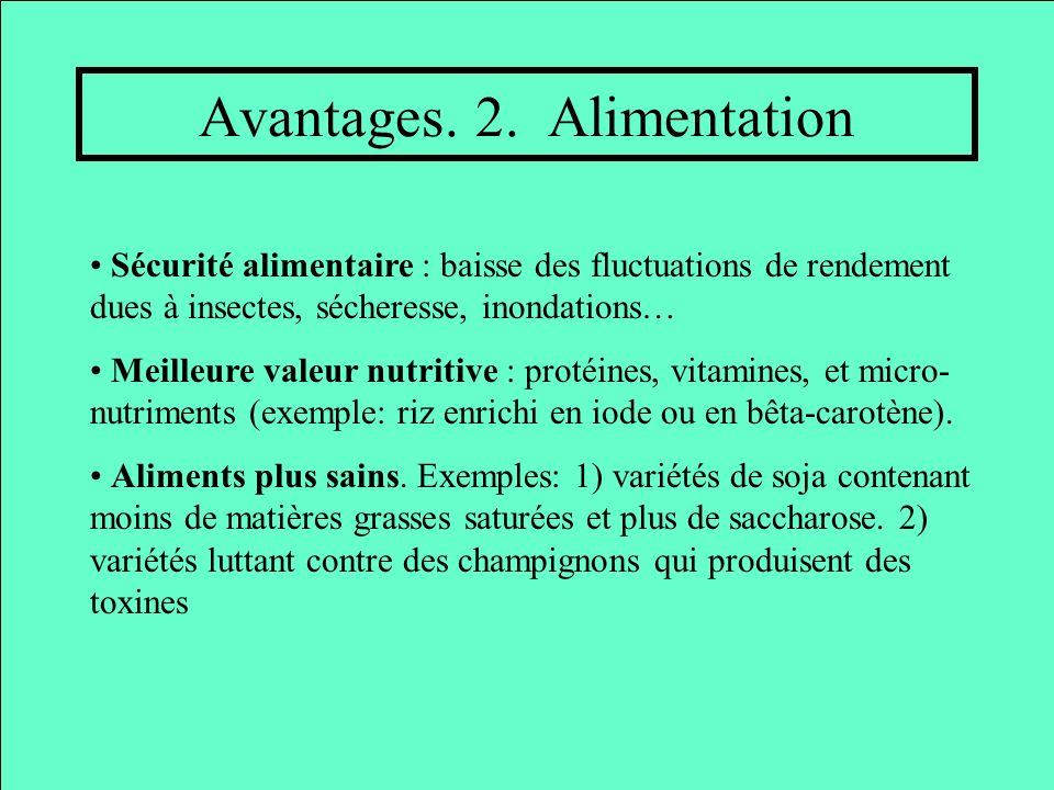 Avantages. 2. Alimentation