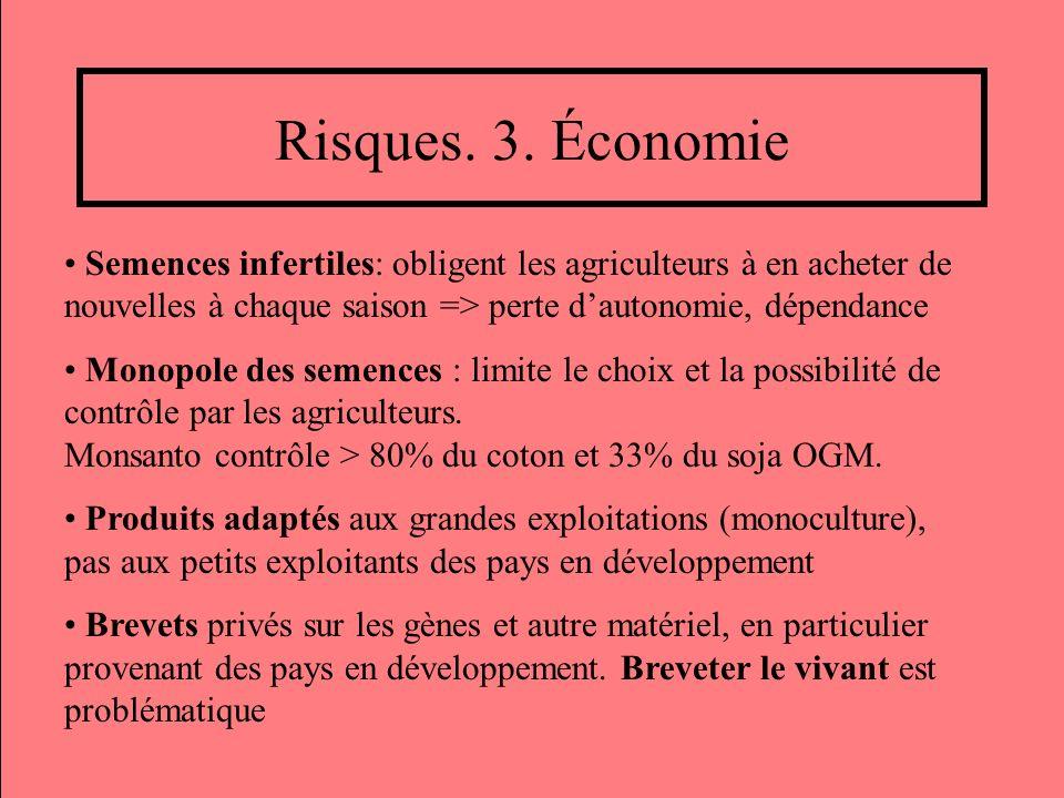 Risques. 3. Économie Semences infertiles: obligent les agriculteurs à en acheter de nouvelles à chaque saison => perte d'autonomie, dépendance.
