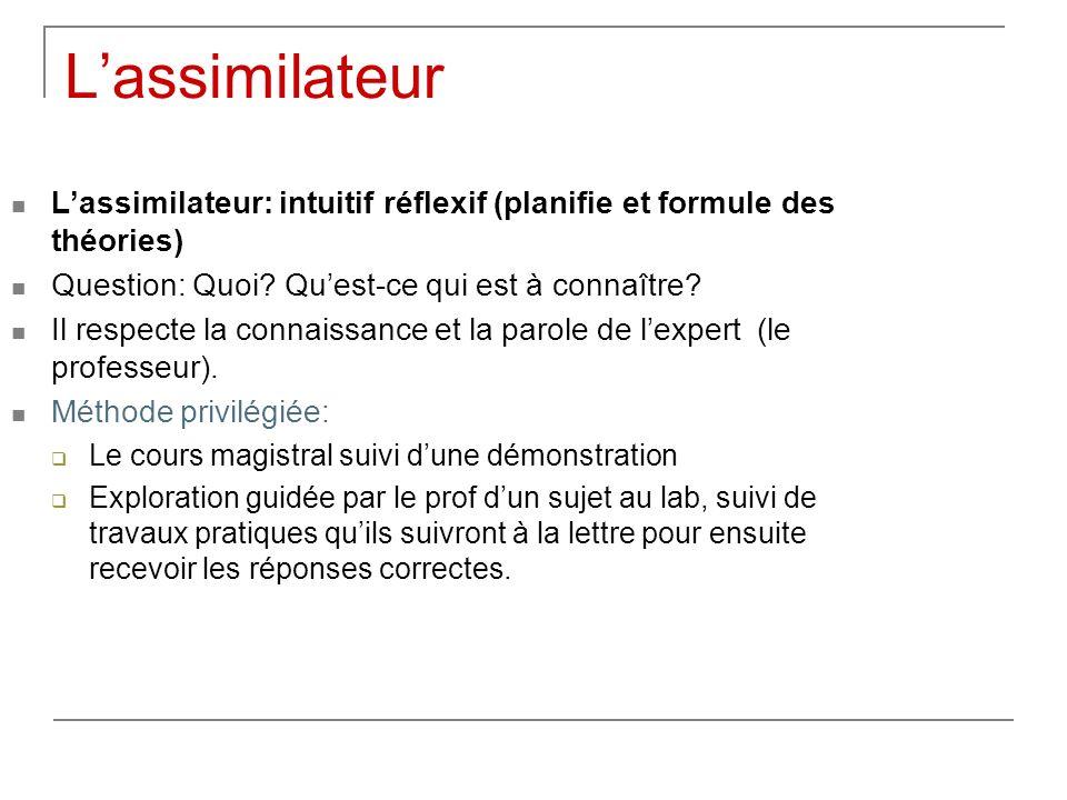 L'assimilateur L'assimilateur: intuitif réflexif (planifie et formule des théories) Question: Quoi Qu'est-ce qui est à connaître