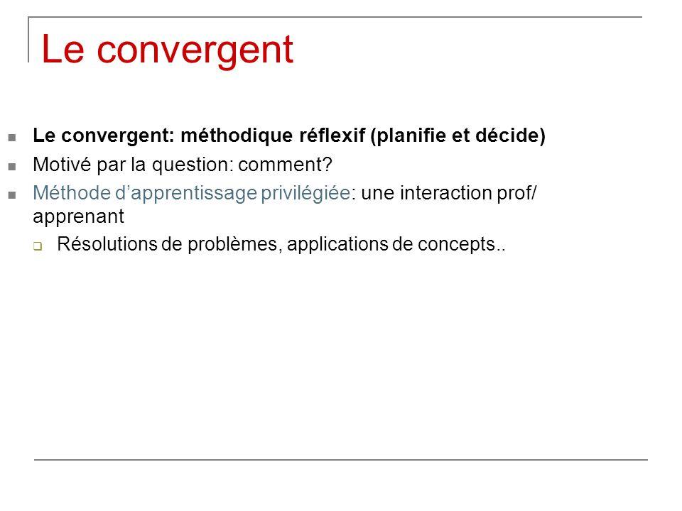 Le convergent Le convergent: méthodique réflexif (planifie et décide)