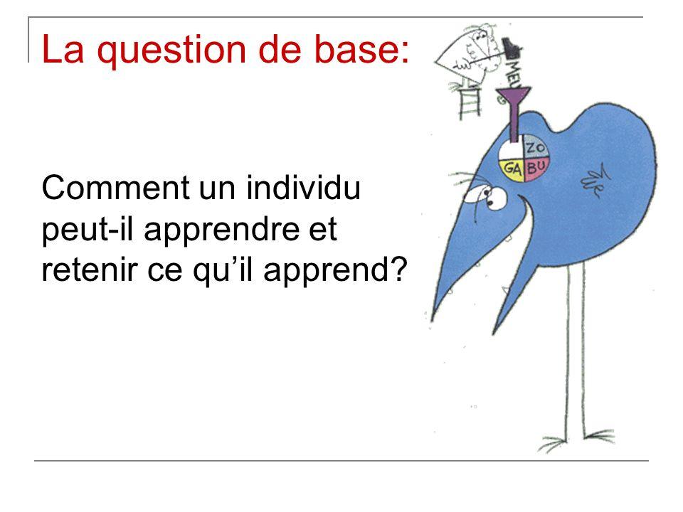 La question de base: Comment un individu peut-il apprendre et