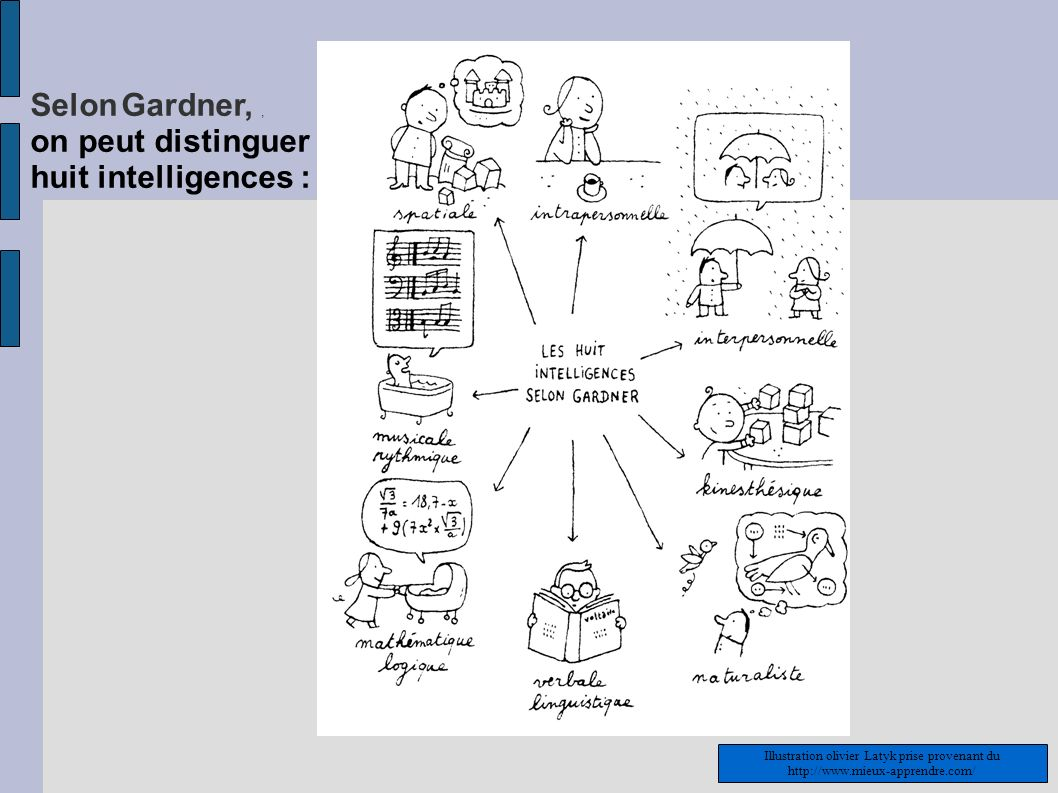 Selon Gardner, , on peut distinguer huit intelligences :