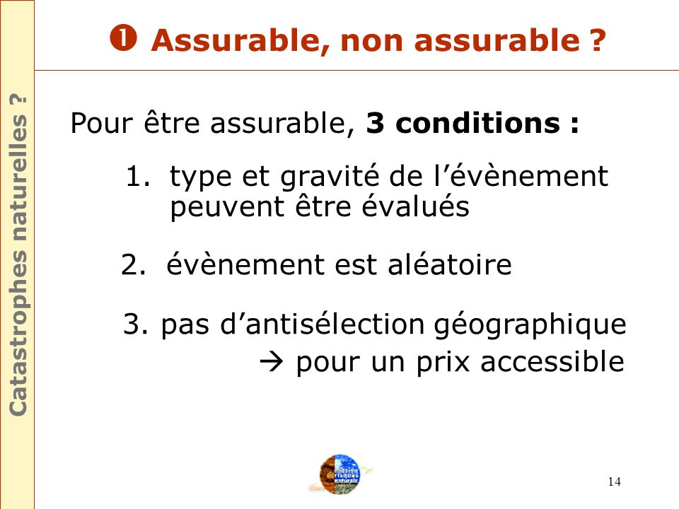  Assurable, non assurable