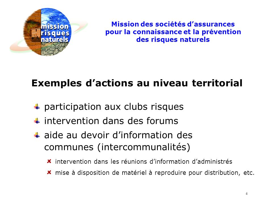 Exemples d'actions au niveau territorial